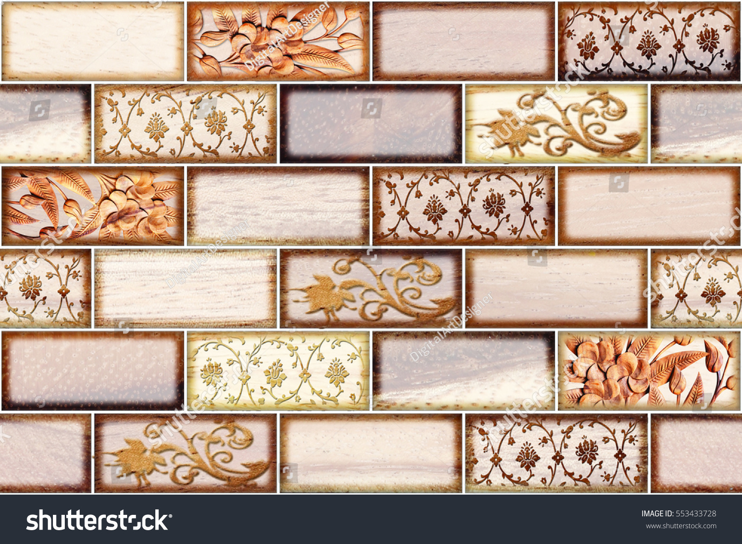 Colorful Vintage Ceramic Tiles Wall Decoration Digital Stock