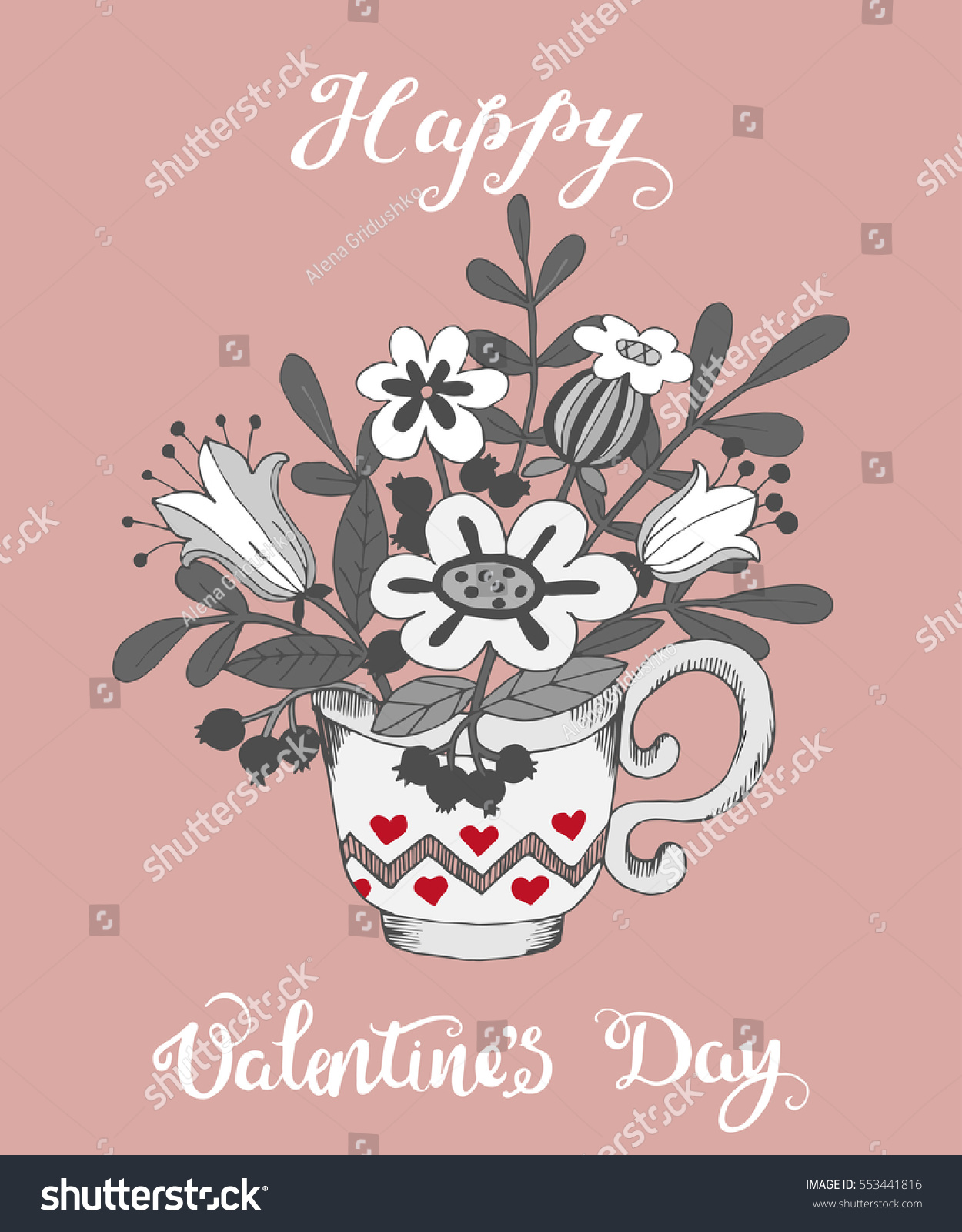 Handdrawn greeting card valentines day cup stock illustration hand drawn greeting card for valentines day cup with abstract flowers illustration kristyandbryce Gallery