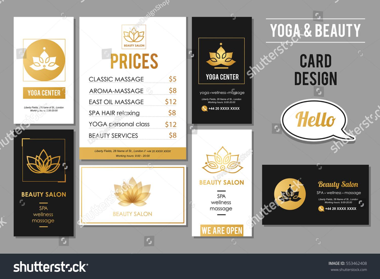 Beauty Salon Yoga Business Cards Design Stock Vector 553462408