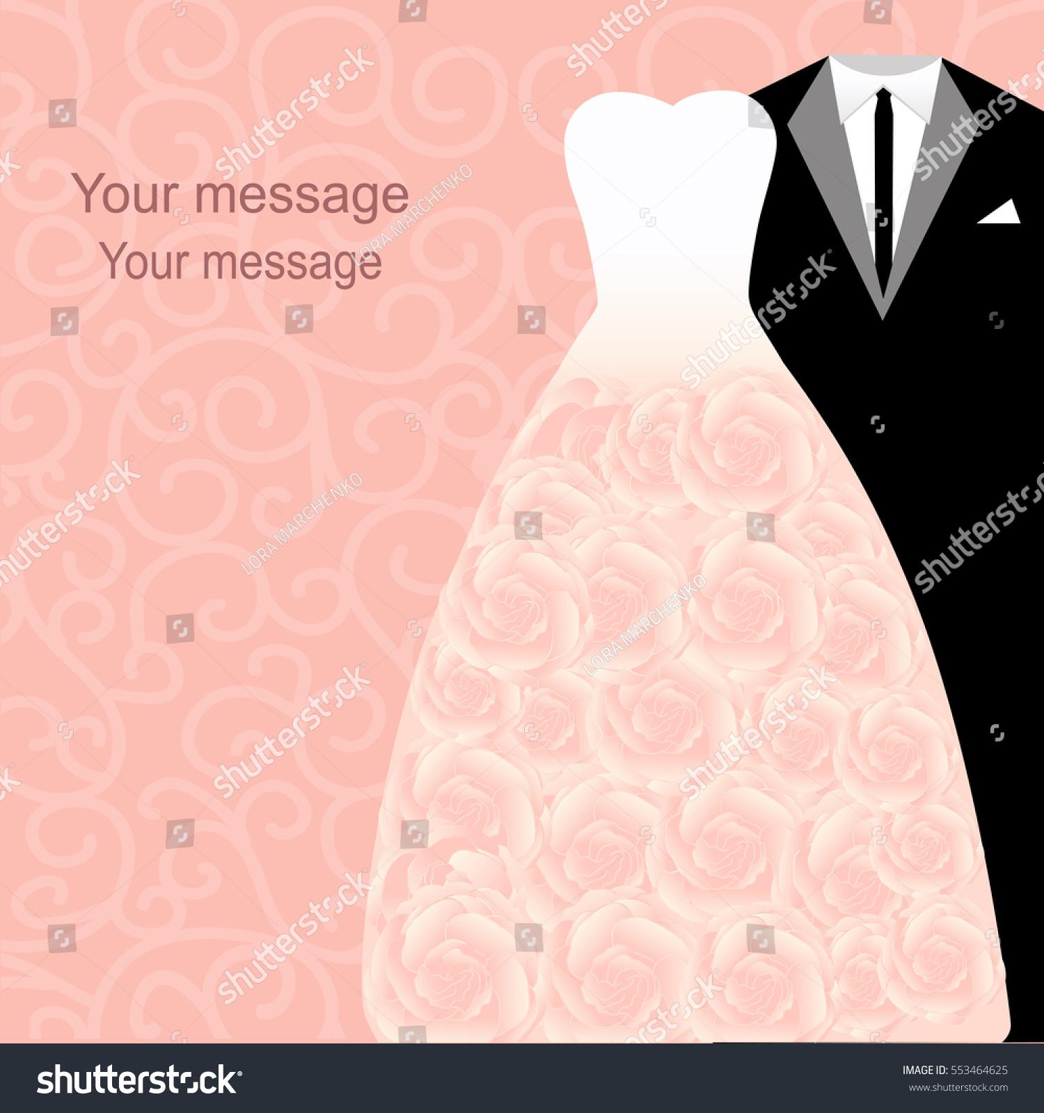 Wedding Card Dresses Bride Groom Wedding Stock Vector 553464625 ...