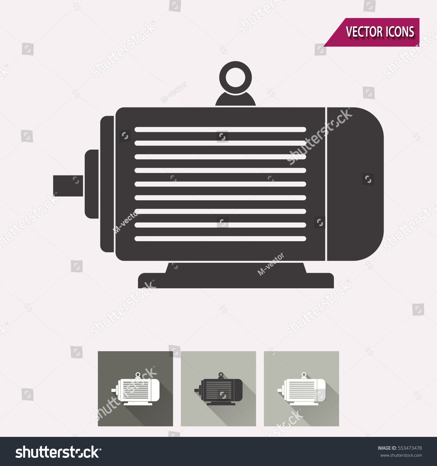 Electric Motor Vector Icon Illustration Isolated Stock