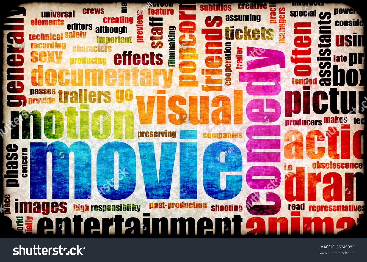 movie poster of film genres vintage background stock photo