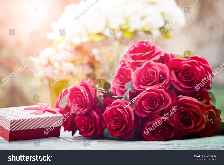 Red Roses Flowers Valentine Festival Gift Stock Photo (100% Legal ...