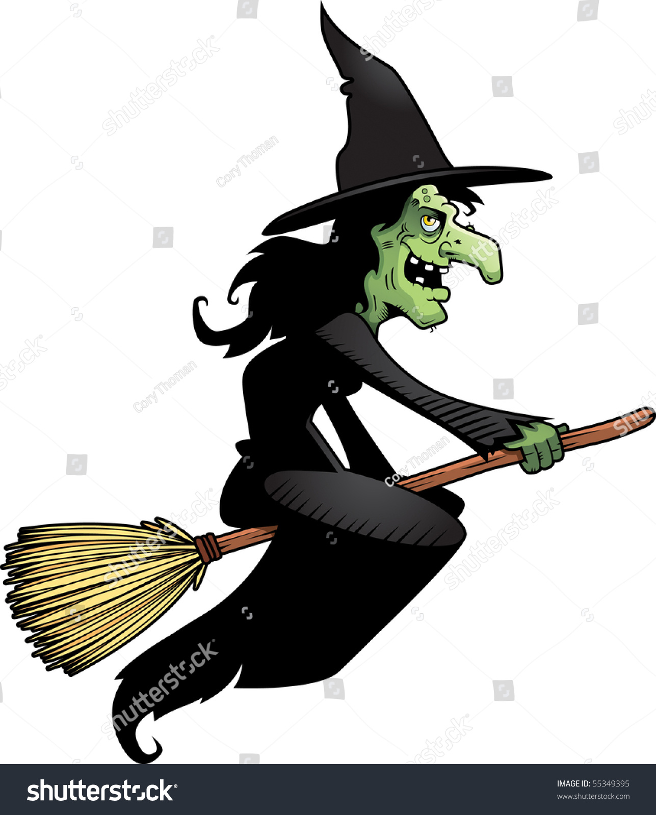 Cartoon Witch Flying On Broomstick Stock Vector 55349395 ...