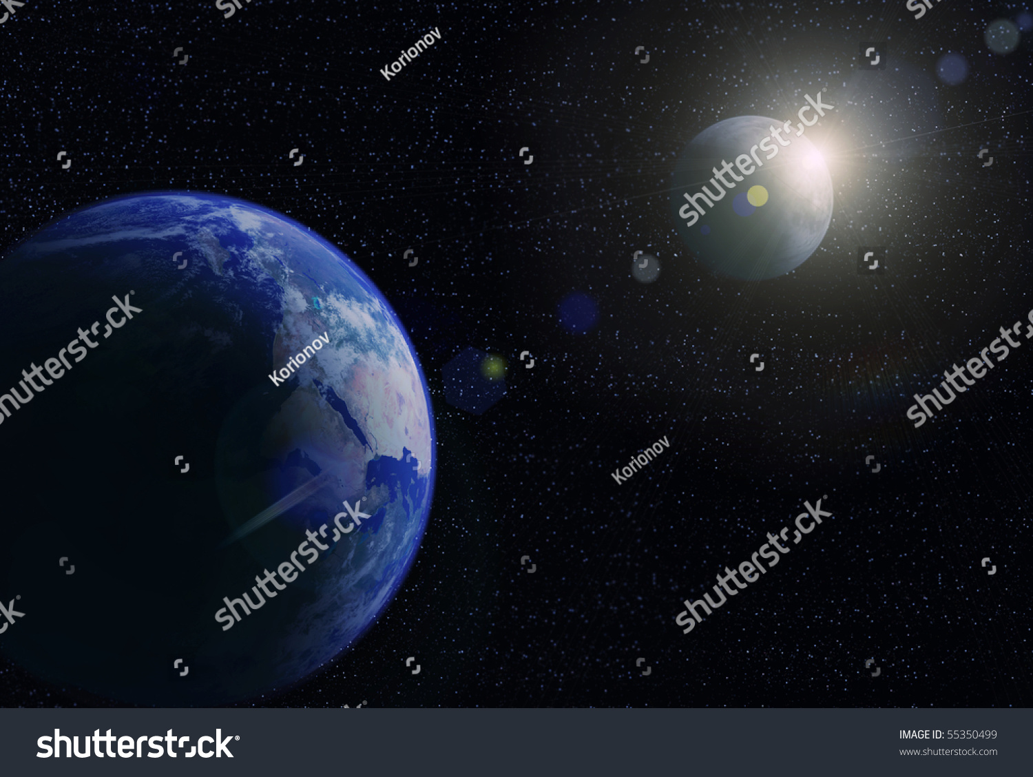 Planet Earth, Moon And Sun. Space Sunrise Stock Photo ...