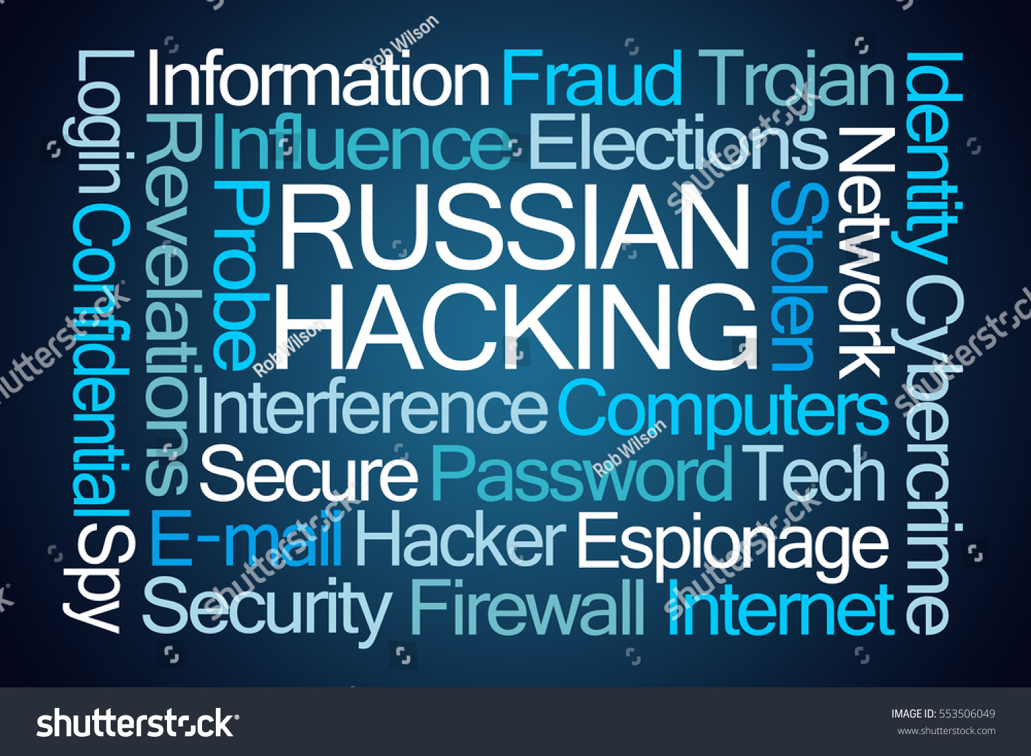 Russian Hacking Word Cloud Blue Stock Illustration