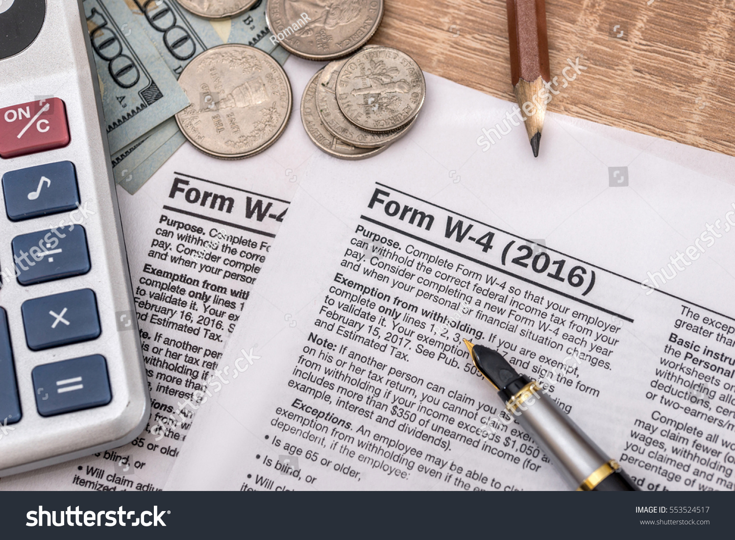 Tax Form W4 Pen Us Dollar Stock Photo 553524517 - Shutterstock