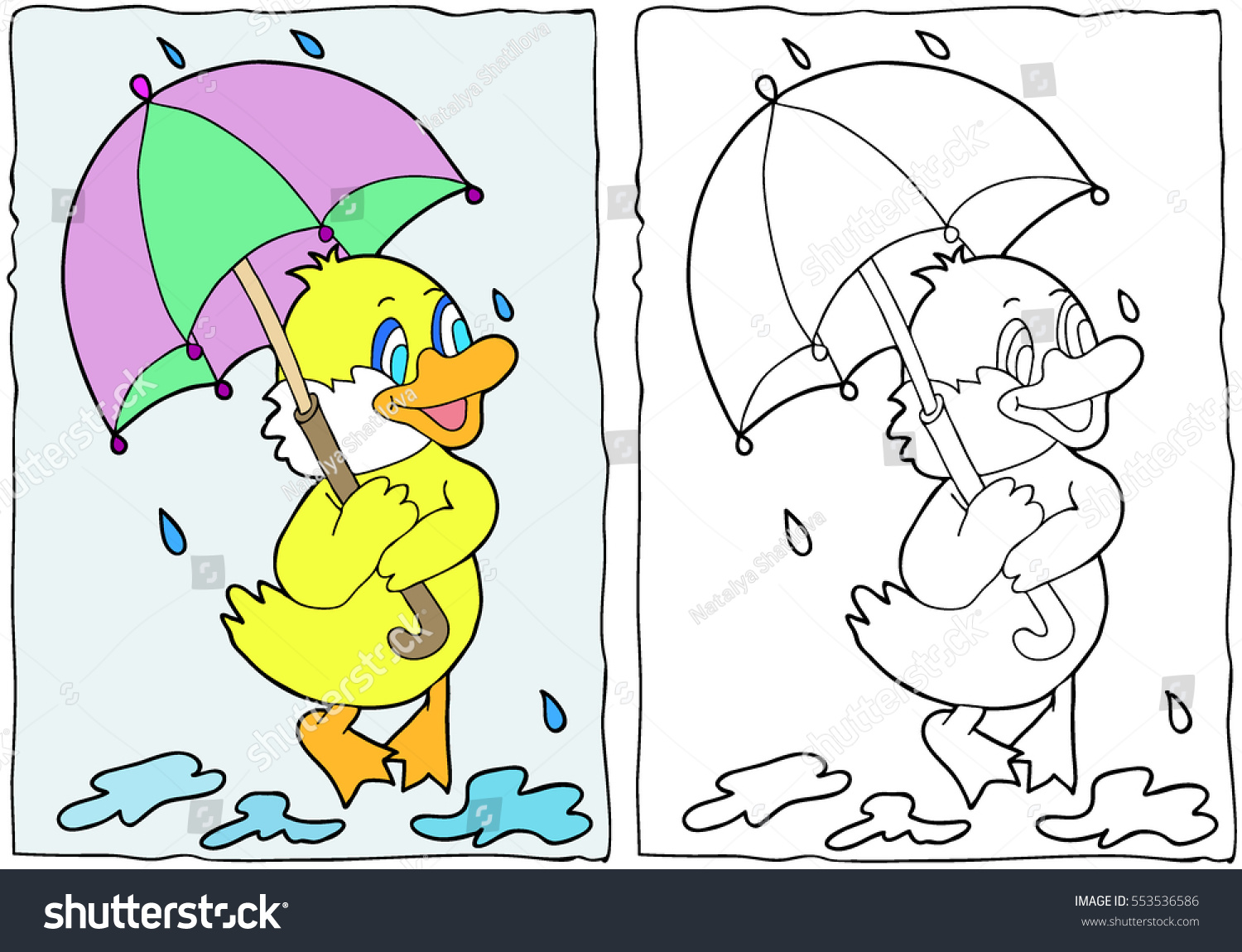 Coloring book Duck with an umbrella Hand drawn Black and white Children adults Color vector illustration