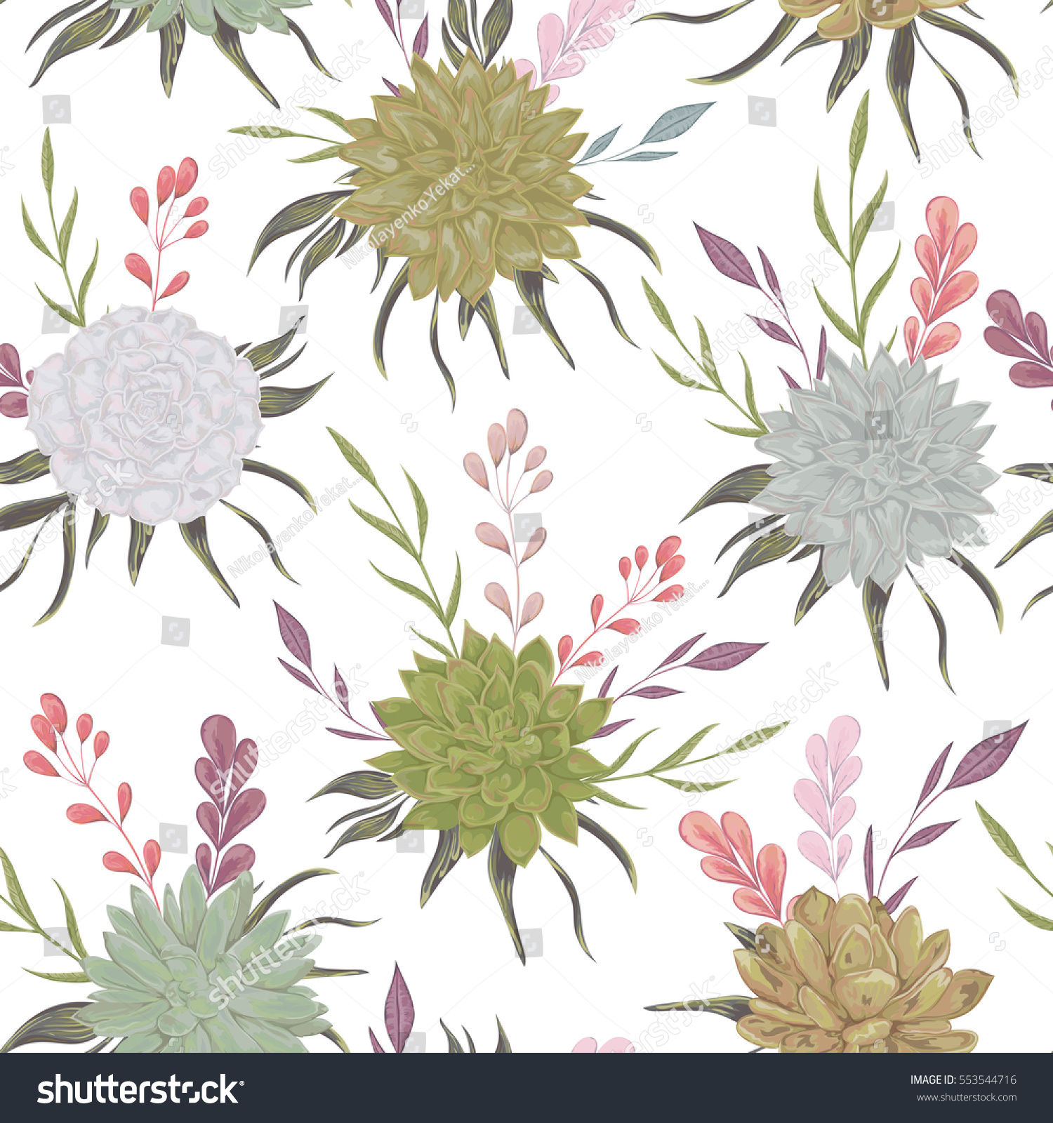 Seamless Pattern Succulents Floral Elements Rustic Stock Vector 553544716