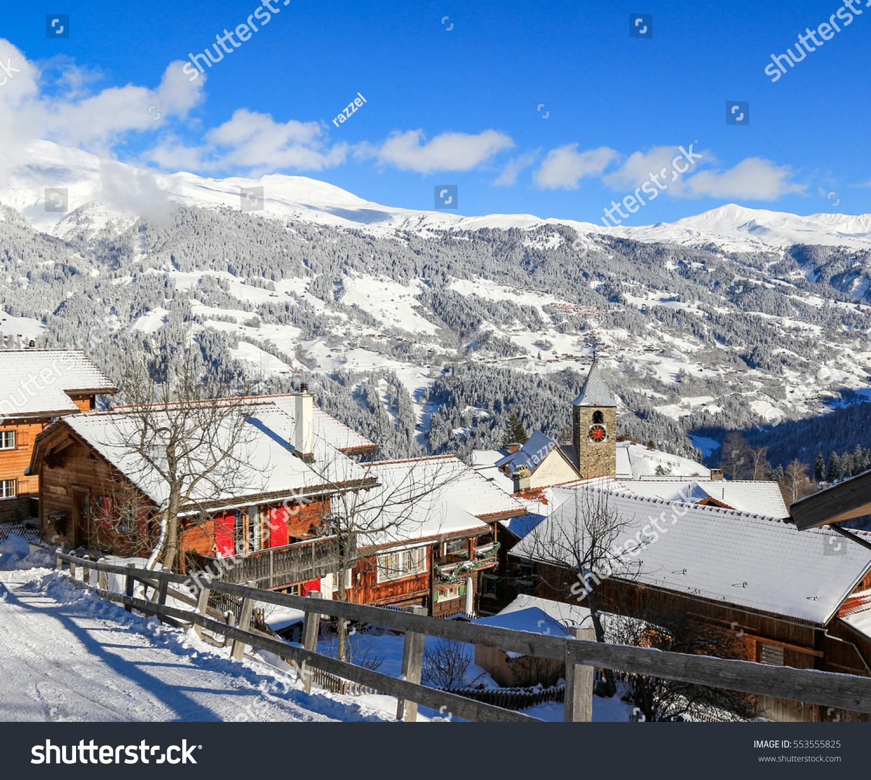 ski resort village tschiertschen schanfigg graubunden stock photo