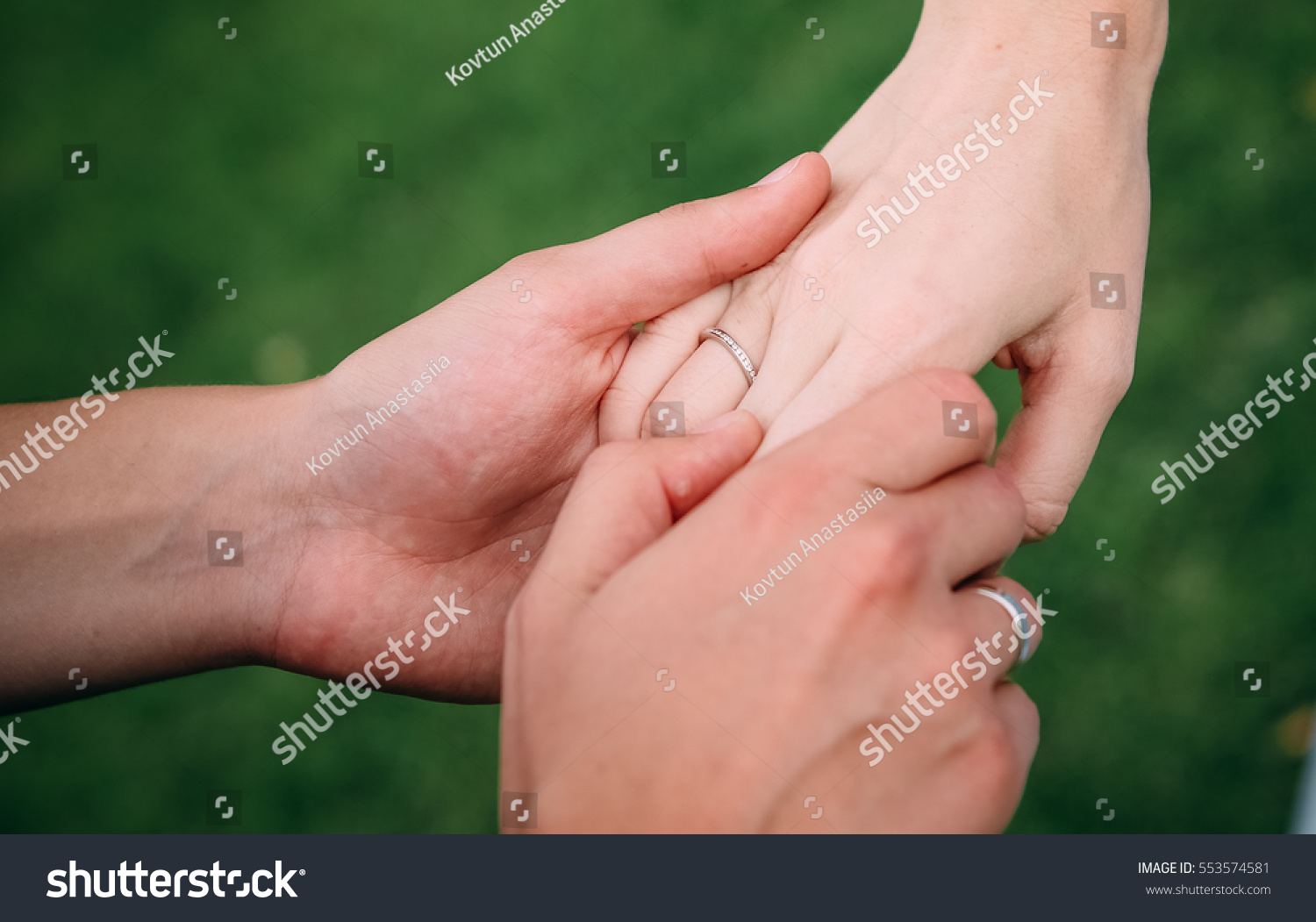 Wedding Rings Hands Men Women Stock Photo (Royalty Free) 553574581 ...