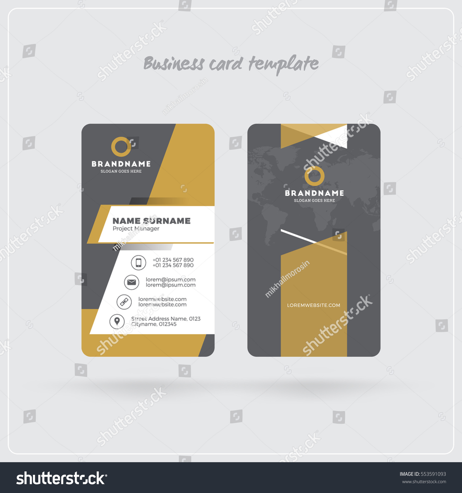 golden gray vertical business card print stock vector