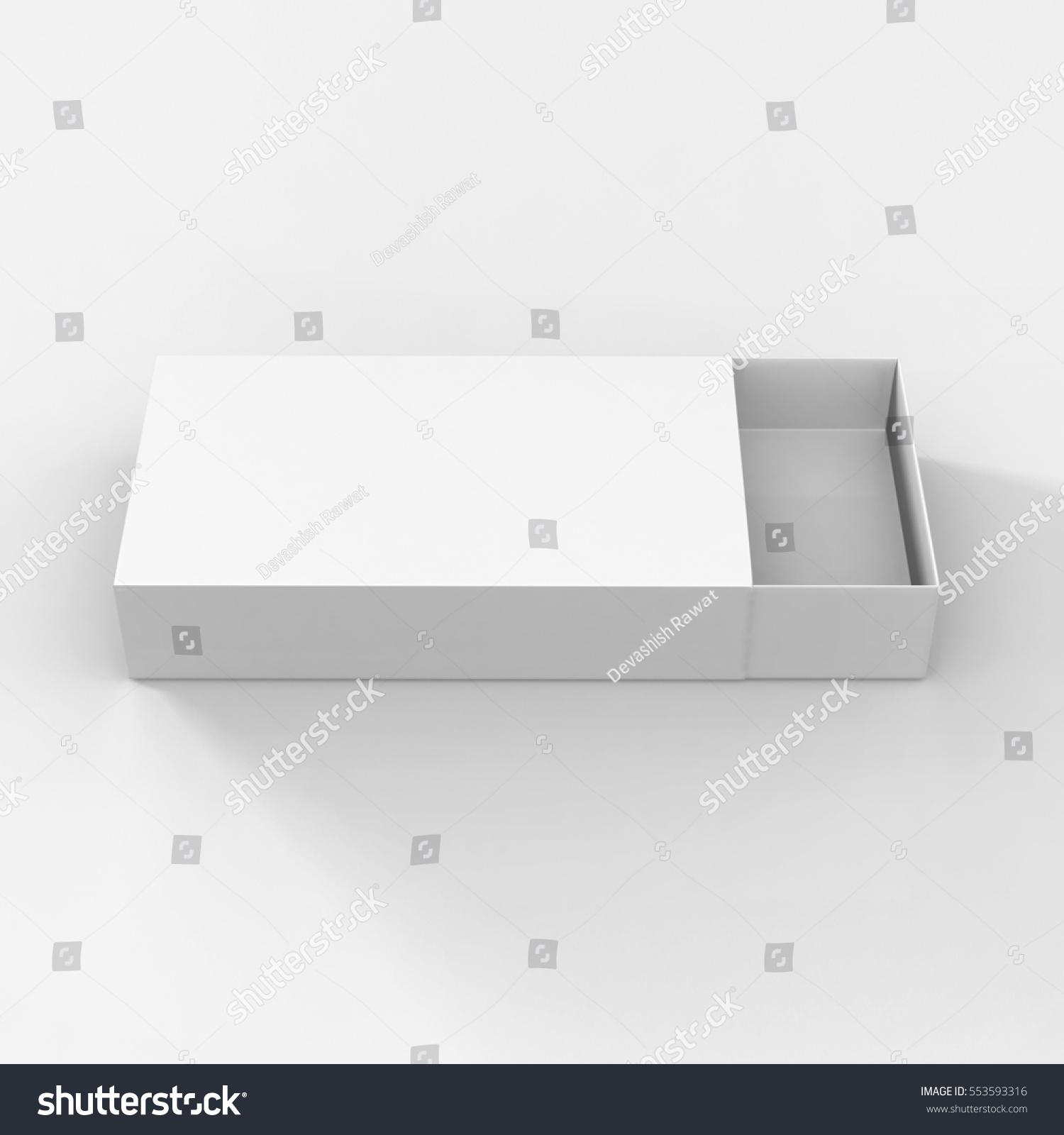 Rendering White Cardboard Sliding Box Match Stock Illustration ...
