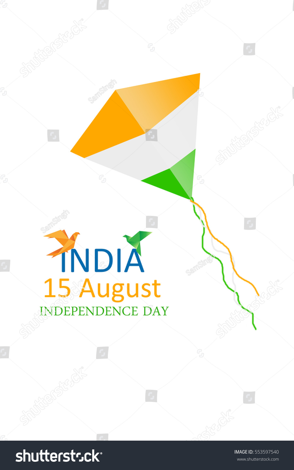 Indian Independence Day Greetings Tricolor Stock Illustration