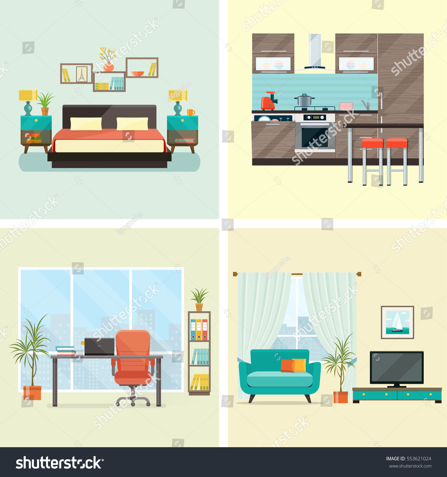 Set interior design house rooms furniture stock vector for Room design vector
