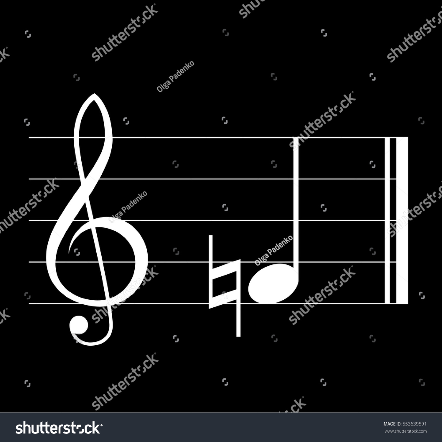Natural Musical Symbol Note Treble Clef Stock Photo Photo Vector