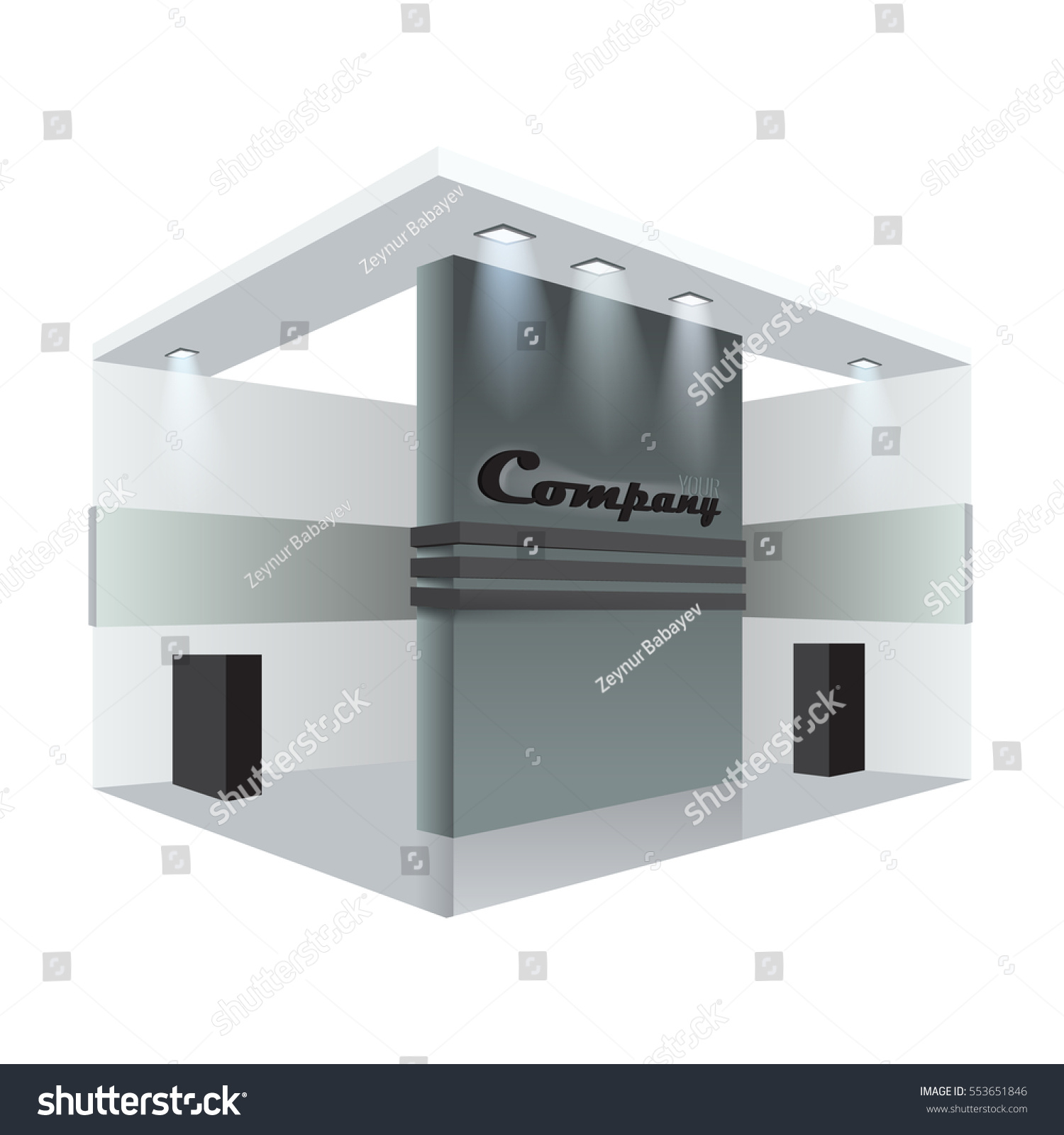 Exhibition Stand Roll Up : Illustrated unique creative exhibition stand display stock vector