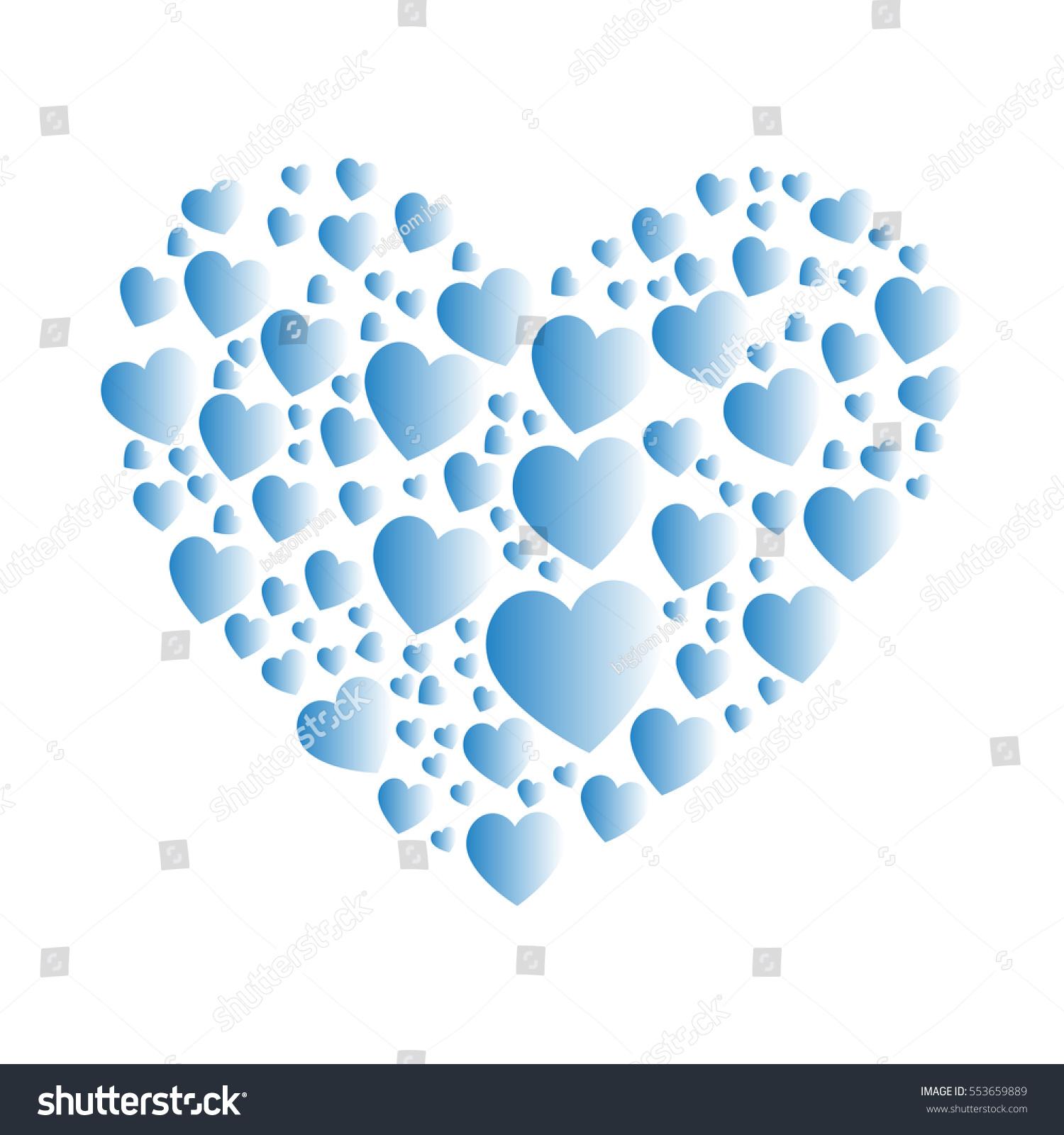 light blue heart collage