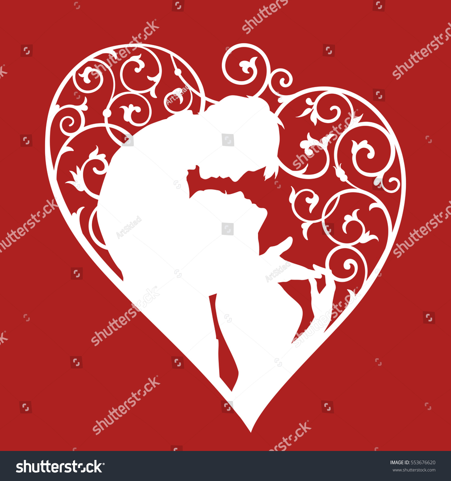 Loving couple inside decorative heart with swirls. White silhouette ...