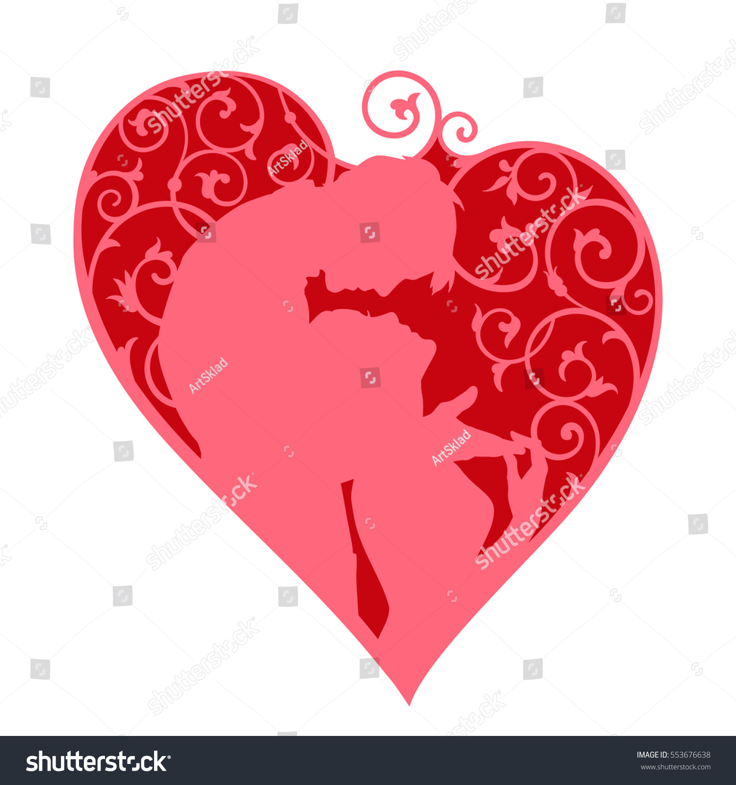 Loving Couple Inside Decorative Heart Swirls Stock Vector (Royalty ...