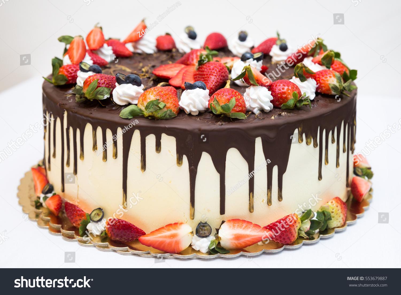 Strawberry Birthday Cake On White Background Stock Photo Edit Now