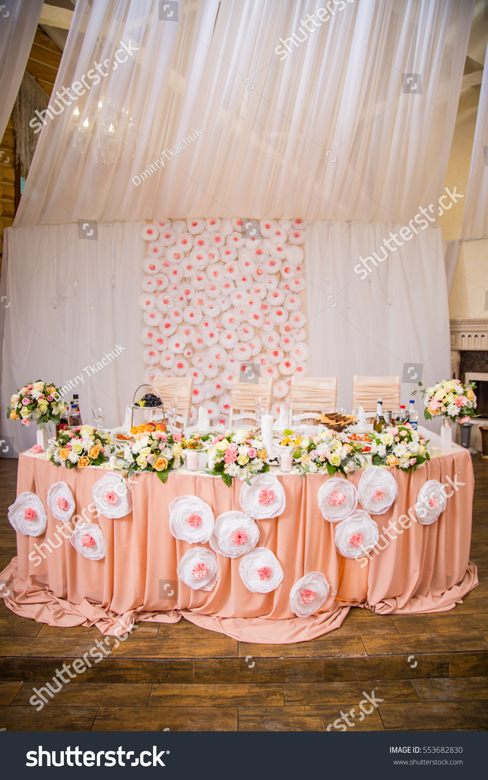 Beautiful wedding decorations peach color fresh stock photo edit beautiful wedding decorations in peach color with fresh flowers junglespirit Image collections
