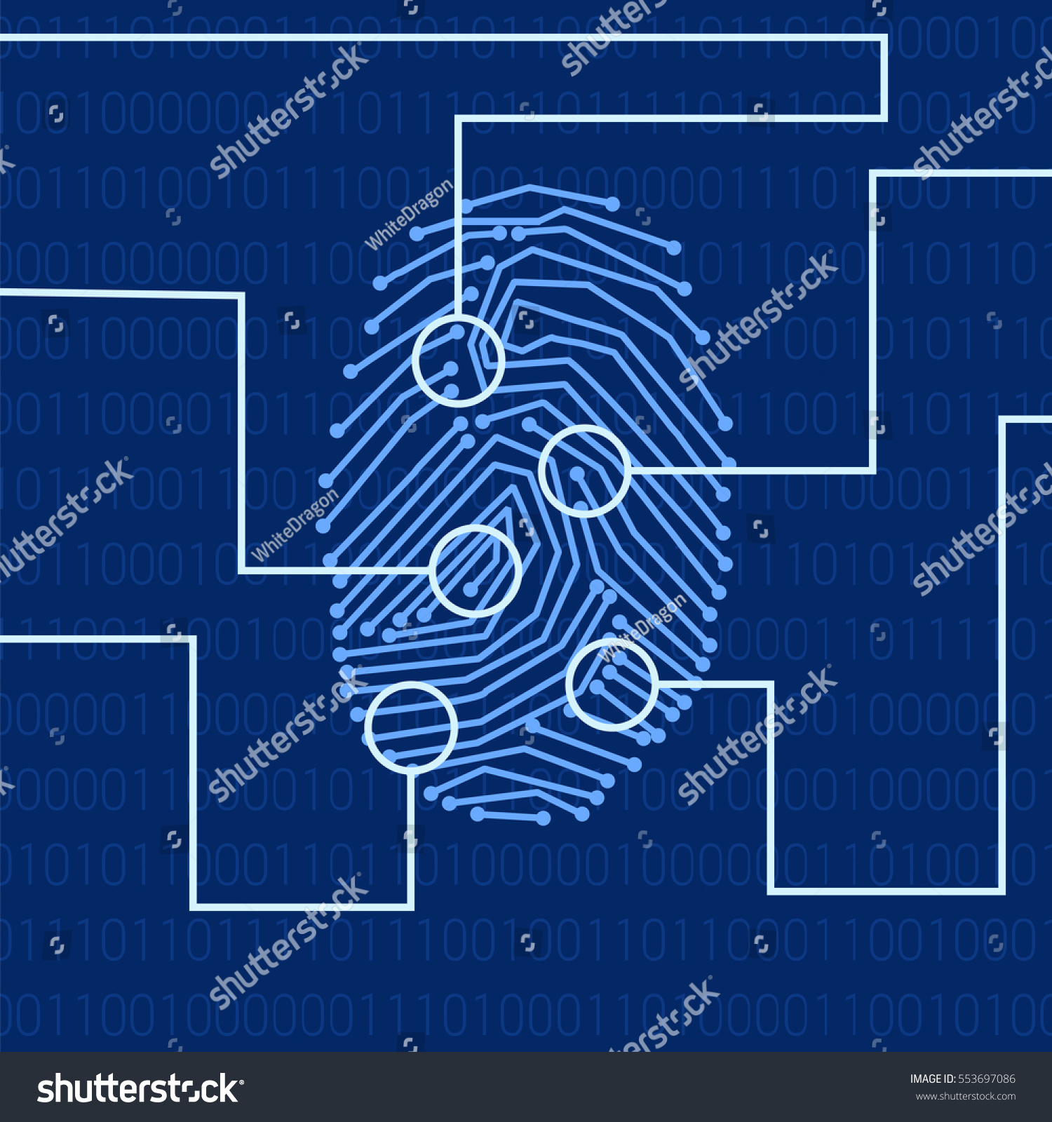 Fingerprint Biometric Identification On Hightech Background Stock