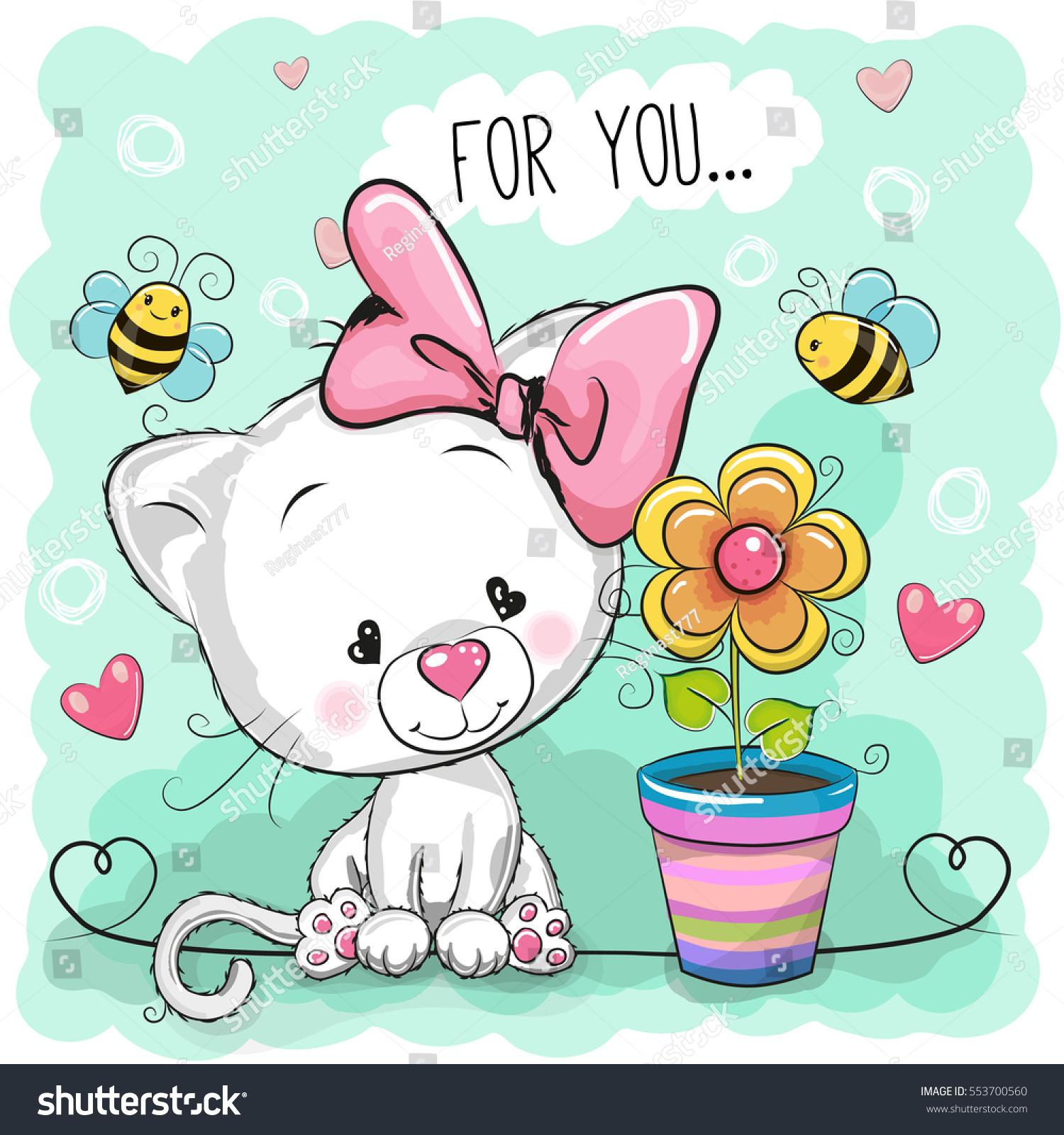 greeting card cute cartoon kitten flower stock vector 553700560
