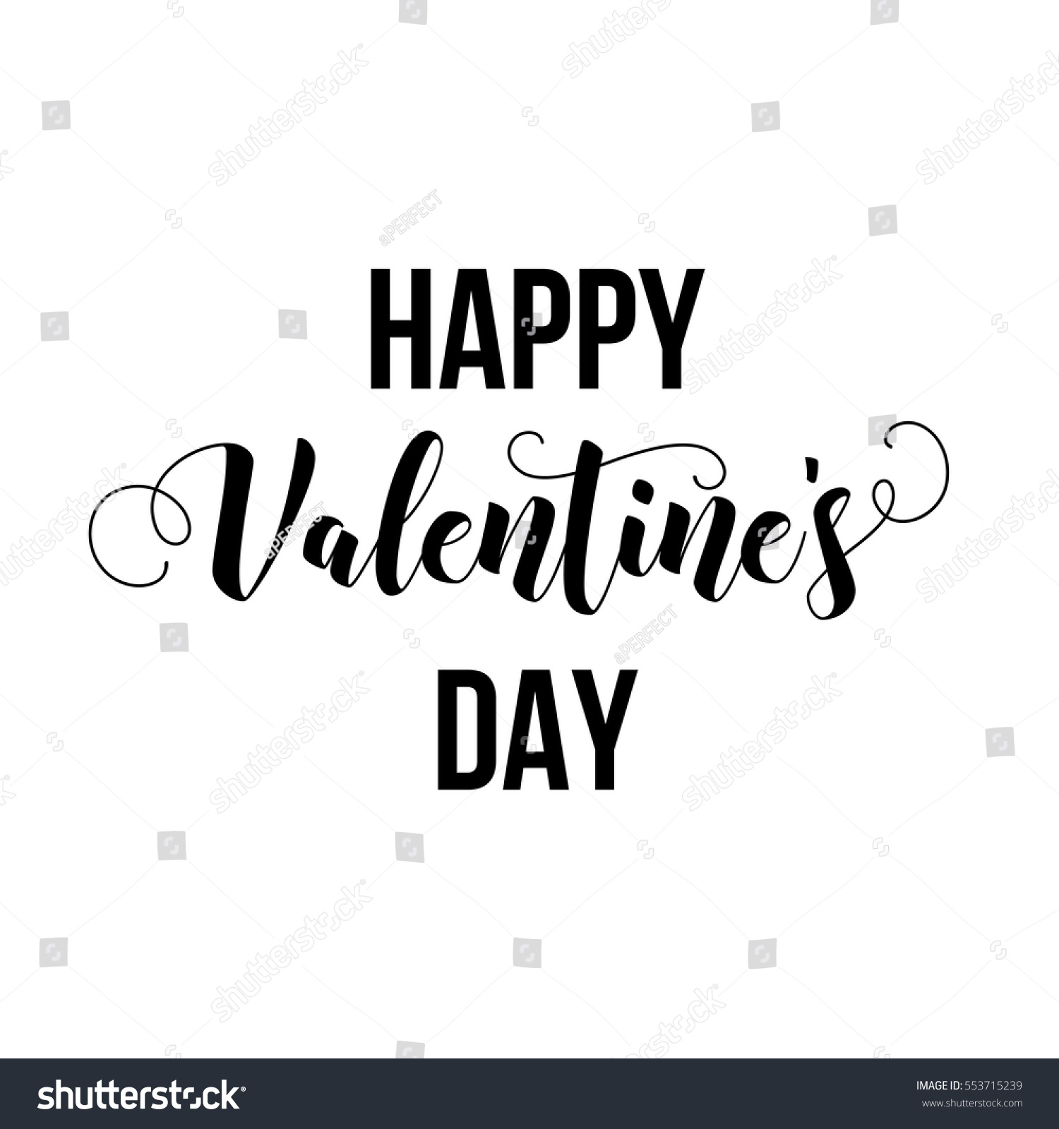 Happy valentines day modern calligraphy lettering stock