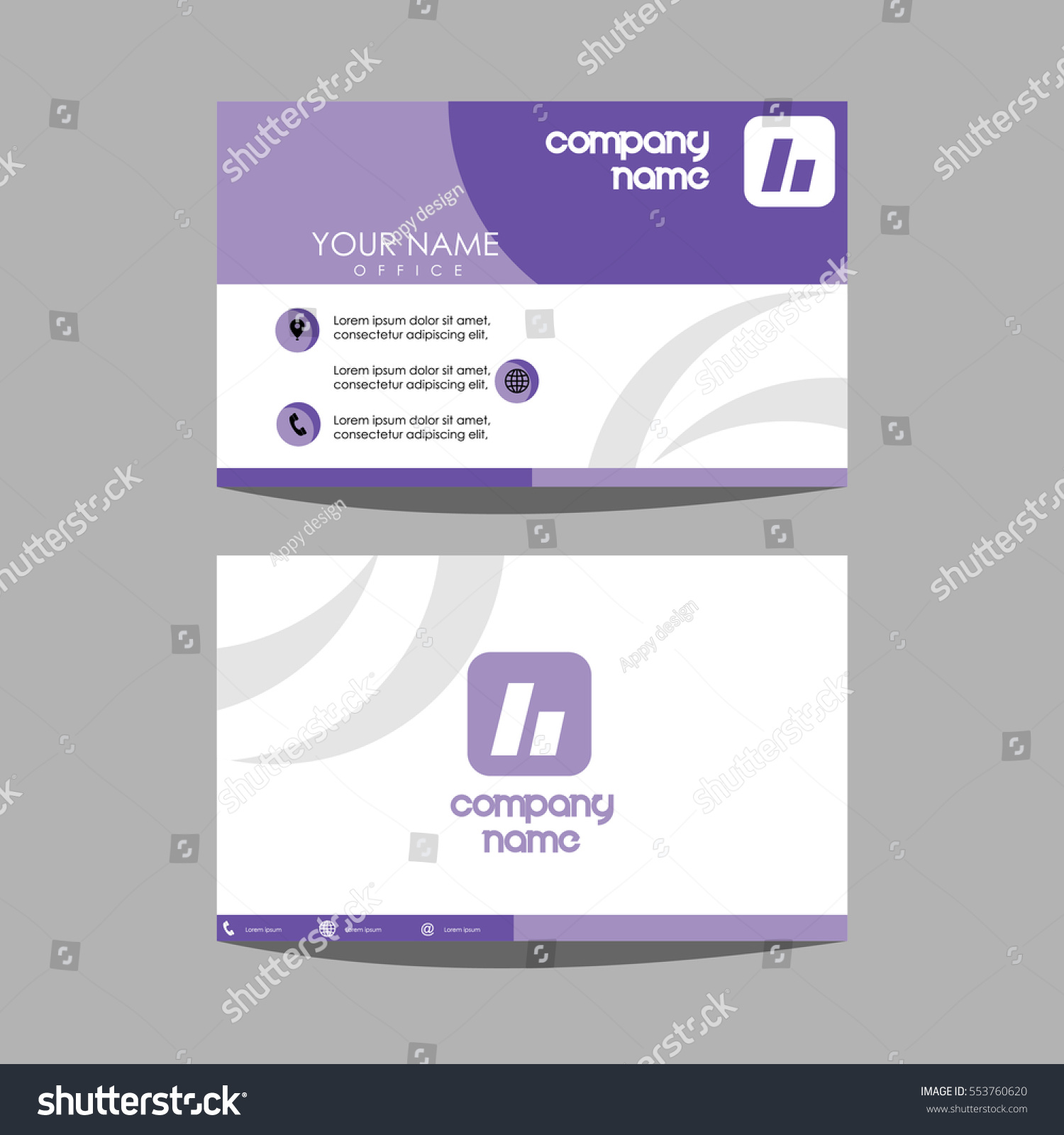 Layout Template Id Card Business Card Stock Vector 553760620 ...