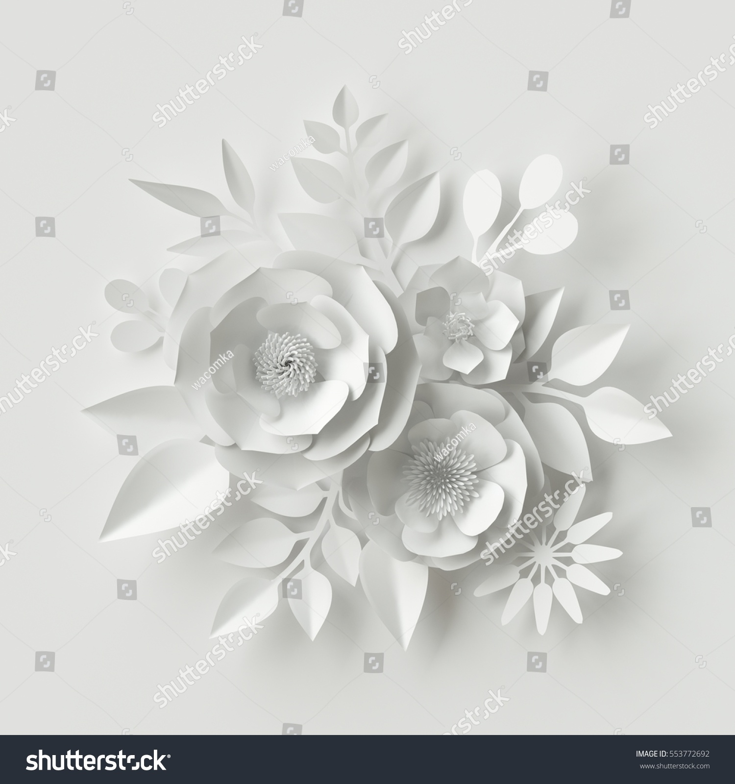 3d Render Digital Illustration White Paper Flowers Background