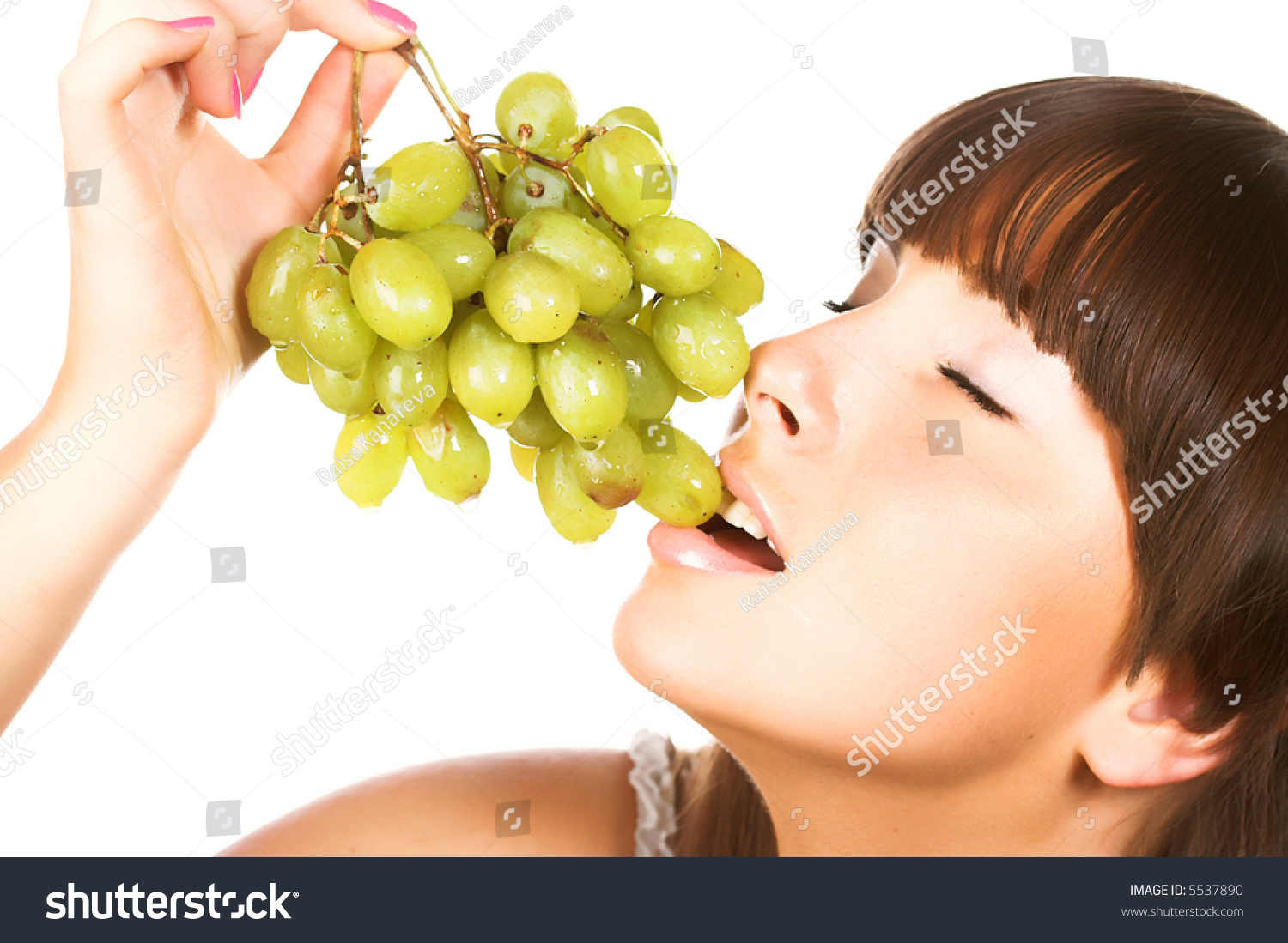 Beautiful Young Woman Green Grape Stock Photo Edit Now