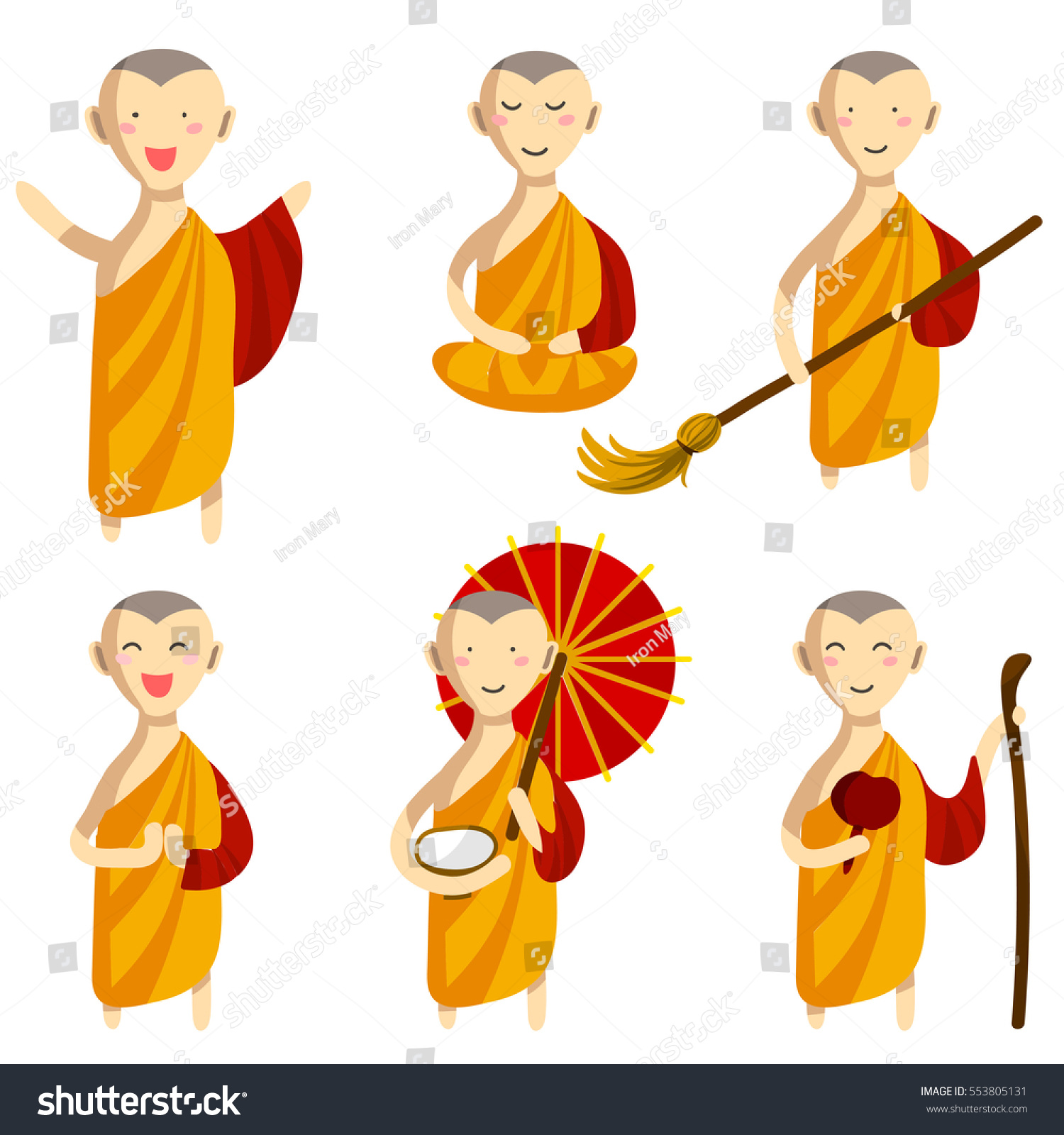 Vector Set Cute Buddhist Monks Orange Stock Vector 553805131