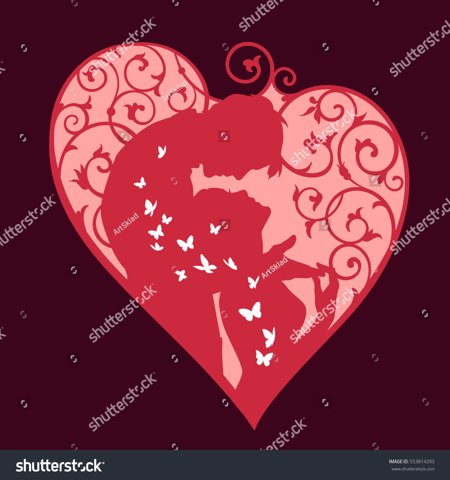 Loving couple inside decorative heart with swirls and white ...