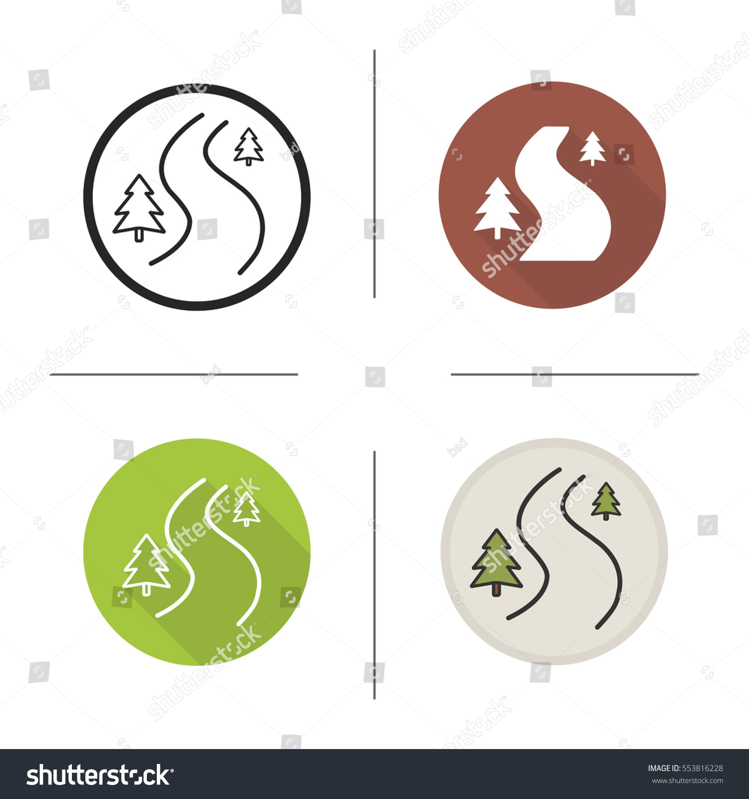 Winding Country Road Icon Flat Design Stock Vector (Royalty Free