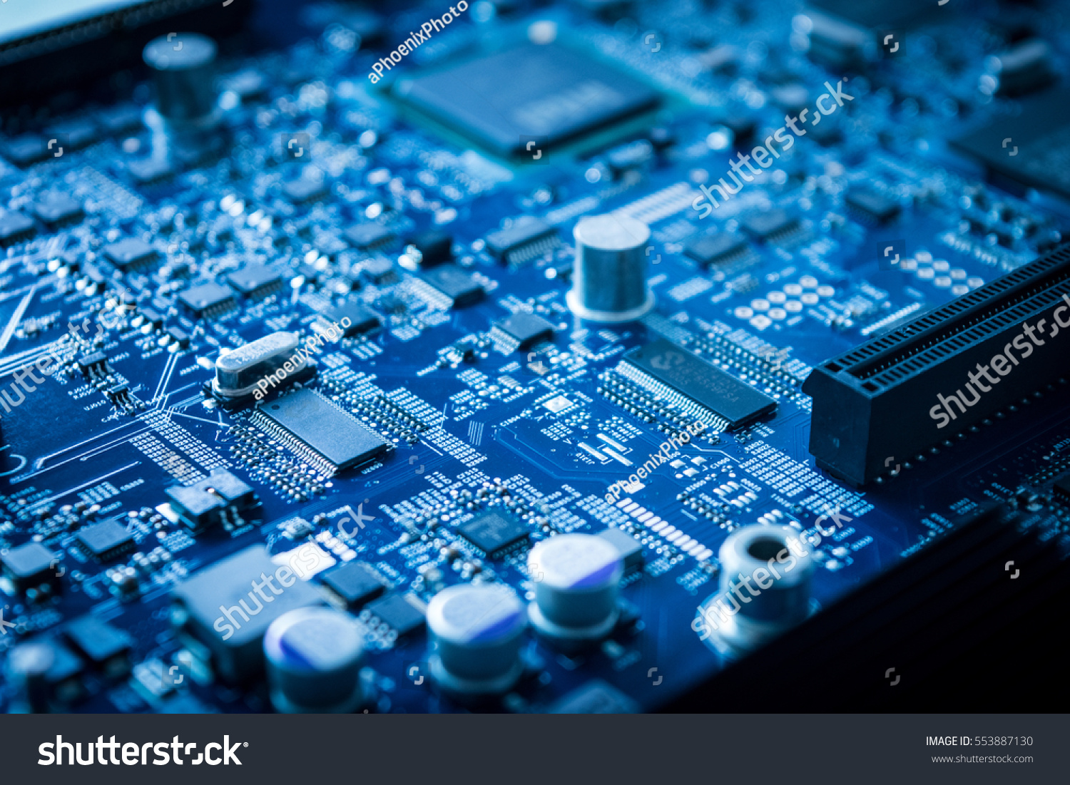 Close Electronic Circuit Board Background Processor Stock Photo Up Of With Computer Blue Technology