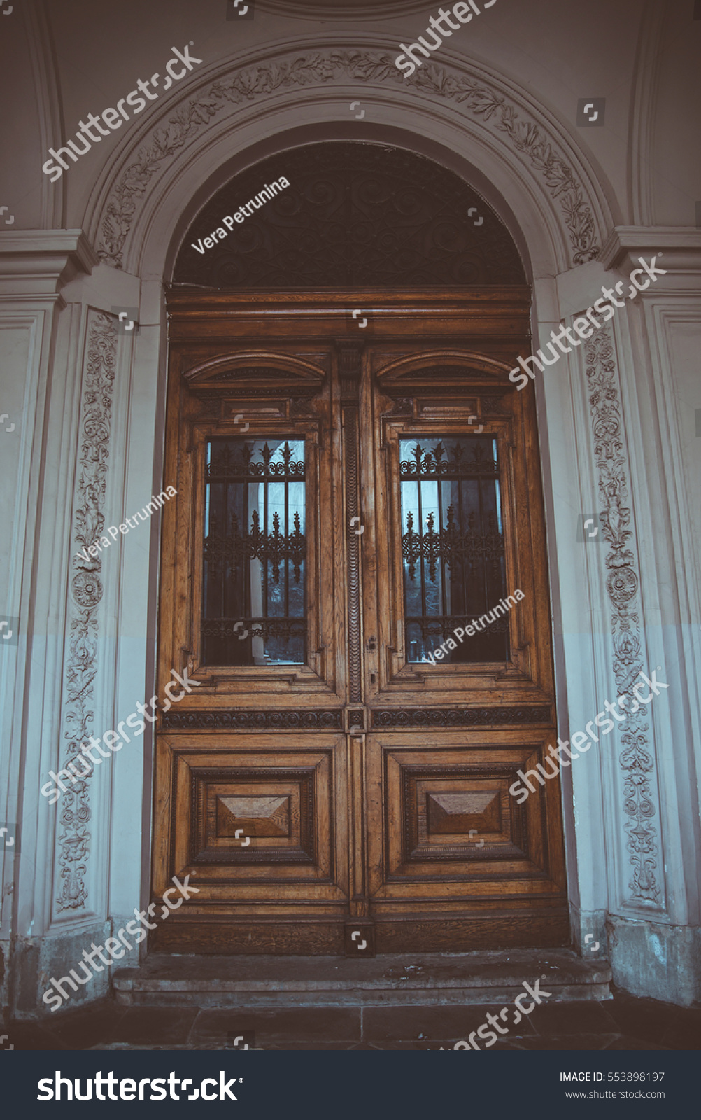 Big Round Old Wooden Outside Door With Glass Ez Canvas