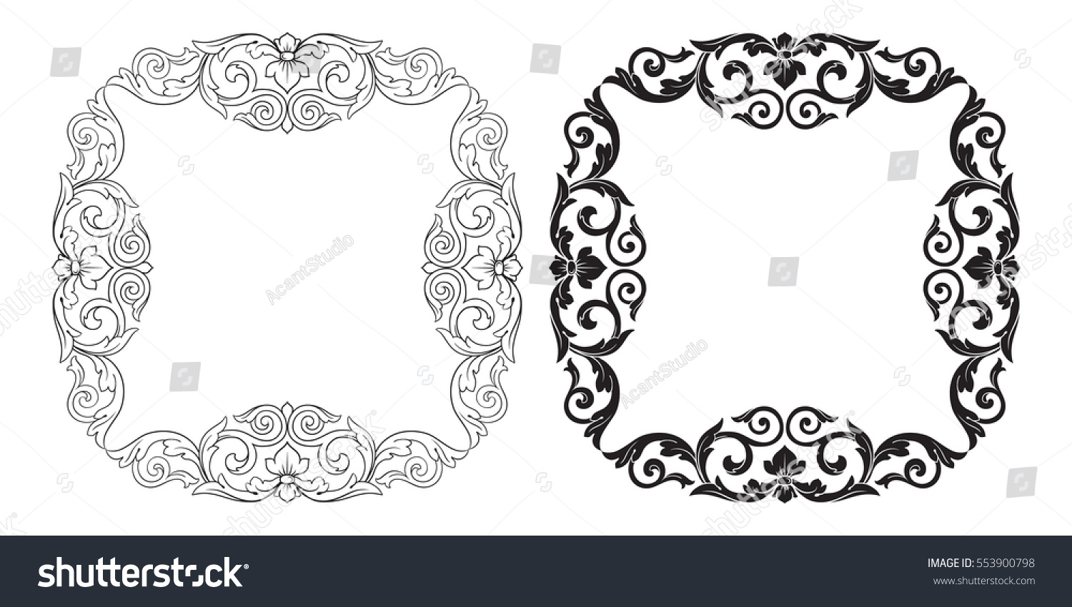 Baroque set vintage elements design decorative stock for Baroque architecture elements
