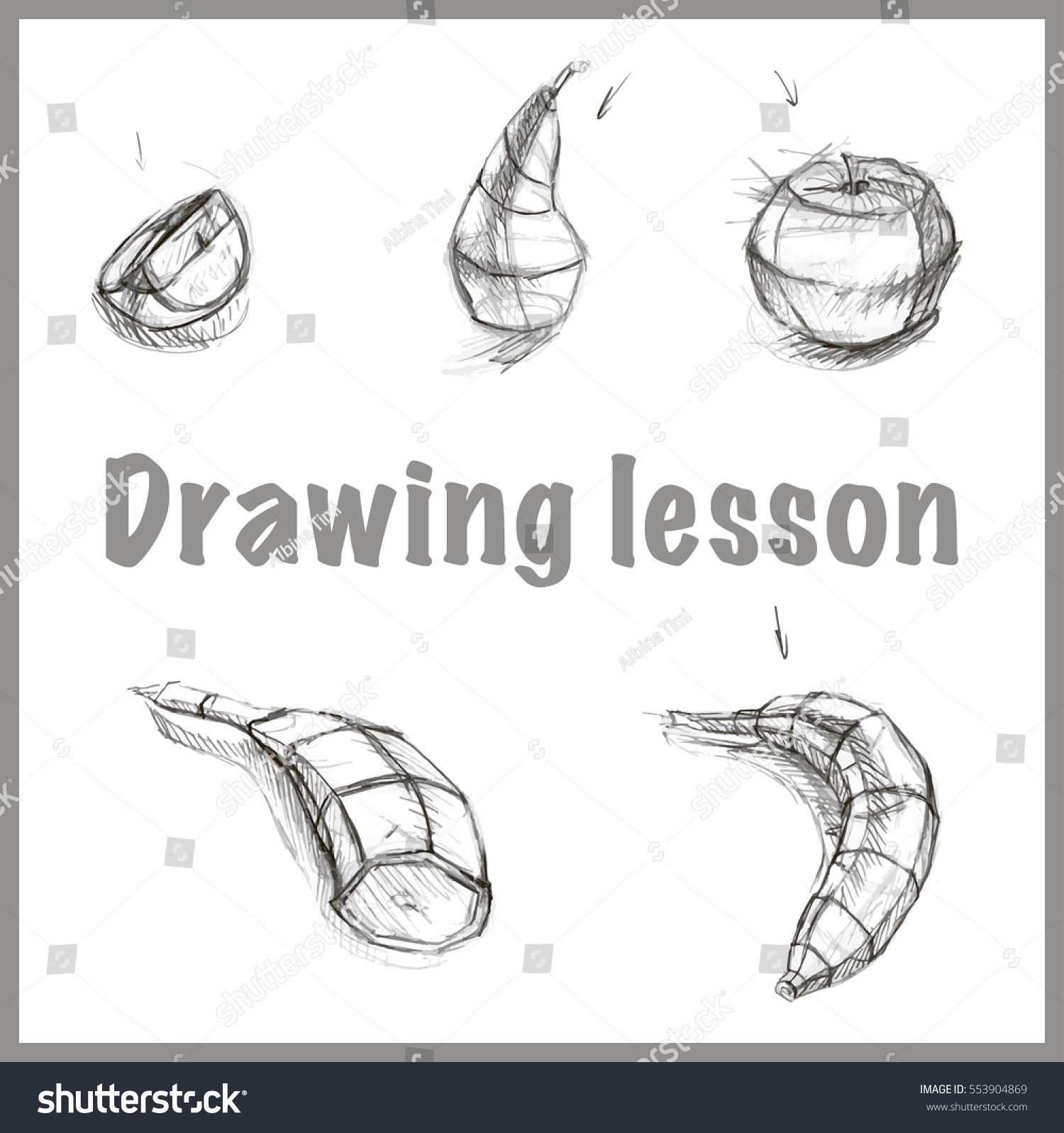 Academic pencil drawing lesson for beginners apple orange lemon banana pear