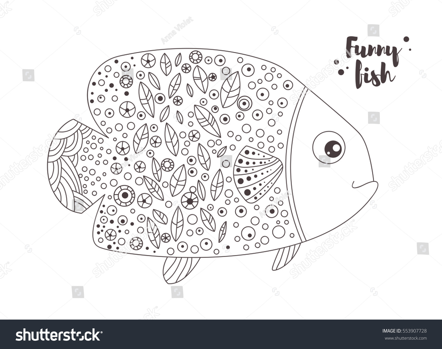 Funny Fish Zentangle Style Coloring Book Stock Vector 553907728 ...