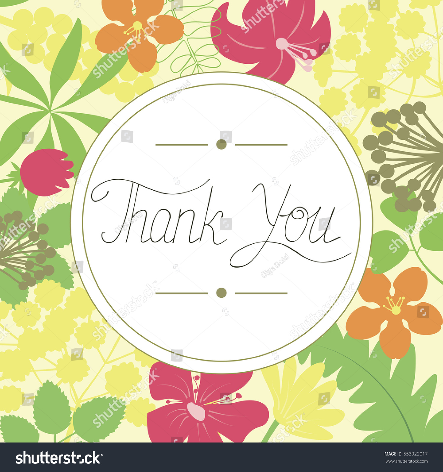 Hand Lettering Thank You Made Floral Stock Vector (Royalty