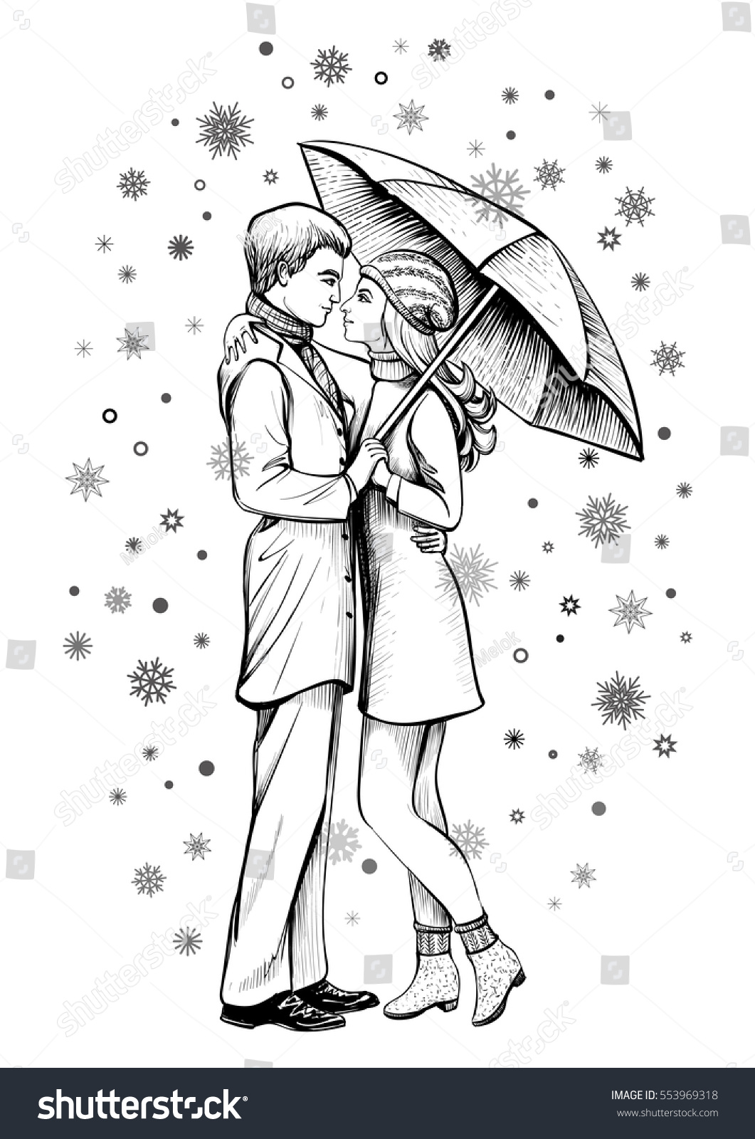 Couple in love under umbrella black and white hand drawn sketch romantic scene with hugging man and woman in snow winter line art illustration