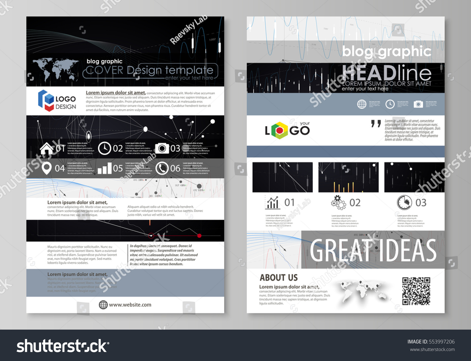 Blog Graphic Business Templates Page Website Stock Vector Royalty
