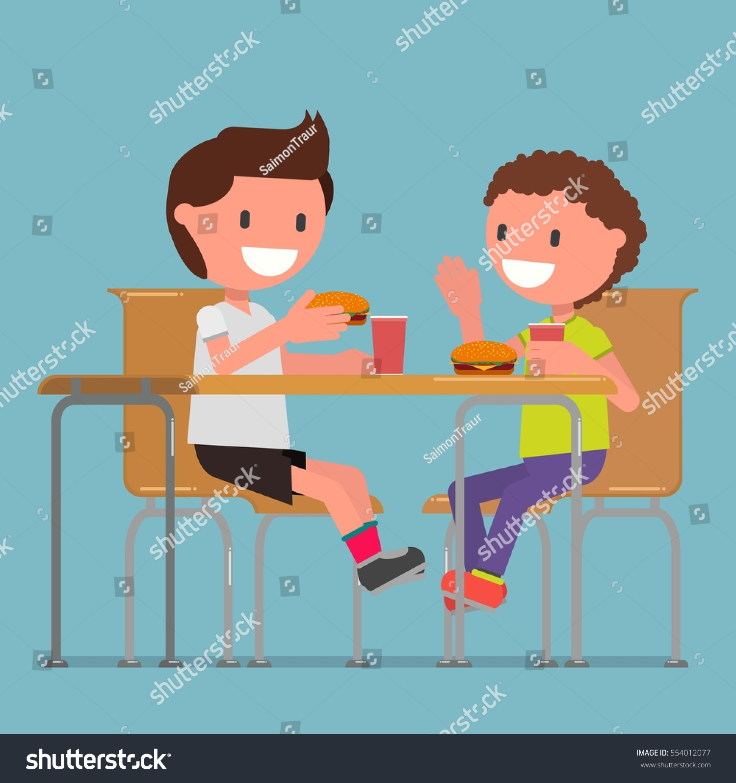 children  two boys eat hamburgers in the dining room  coffee house  coffee. Children Two Boys Eat Hamburgers Dining Stock Vector 554012077