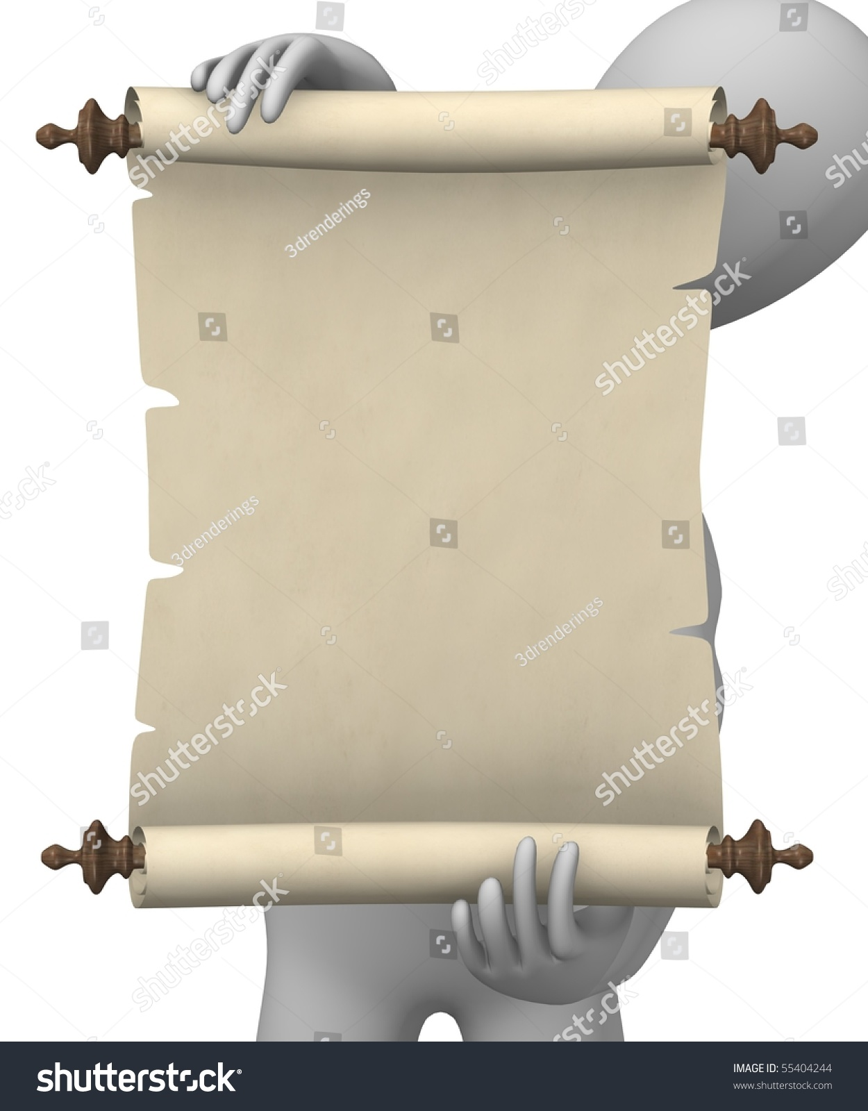 3d Scroll Of Parchment Photo: 3d Render Of Cartoon Character With Scroll Stock Photo