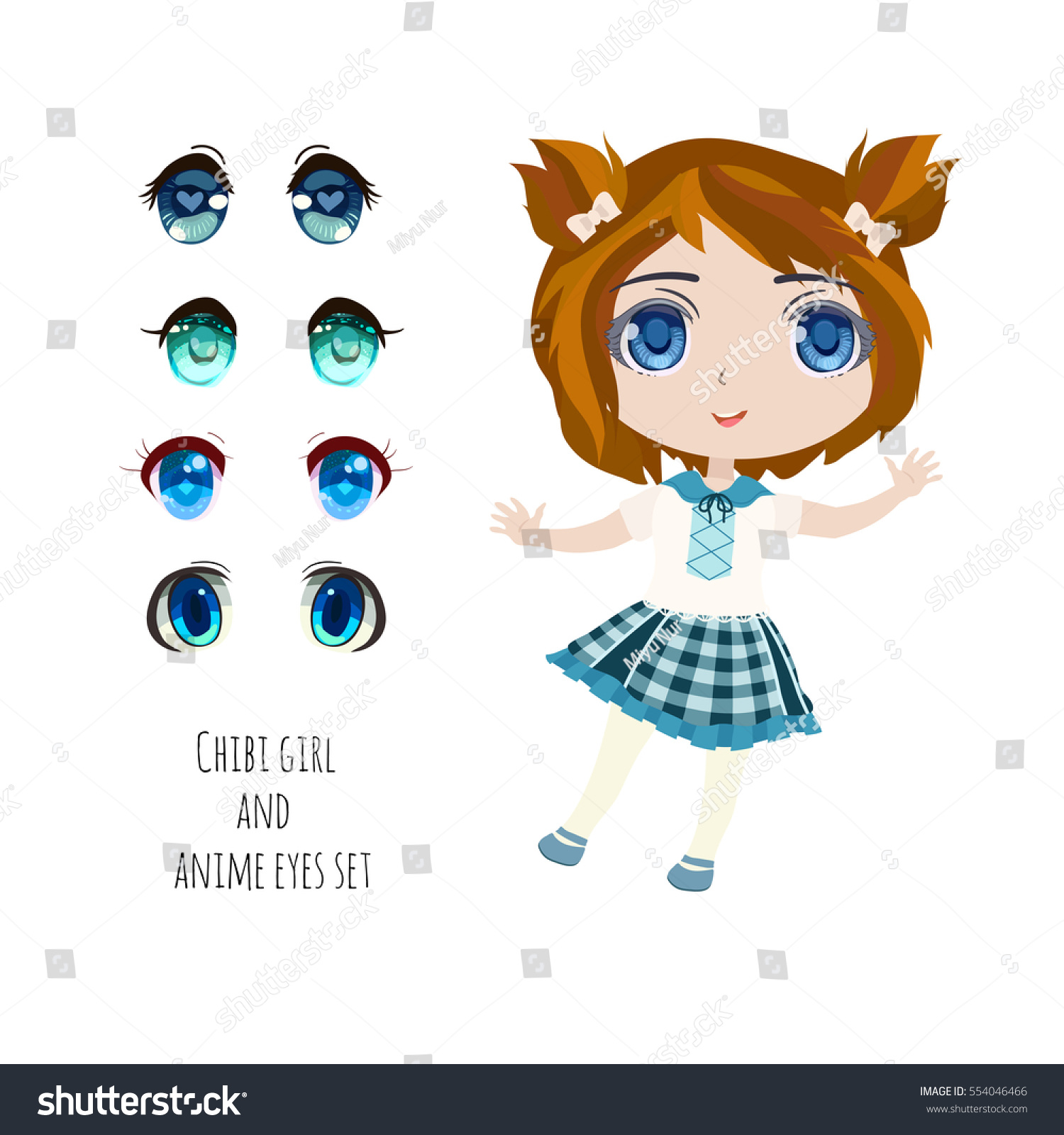 Blue Anime Eyes Set Cute Chibi Vector de stock554046466: Shutterstock
