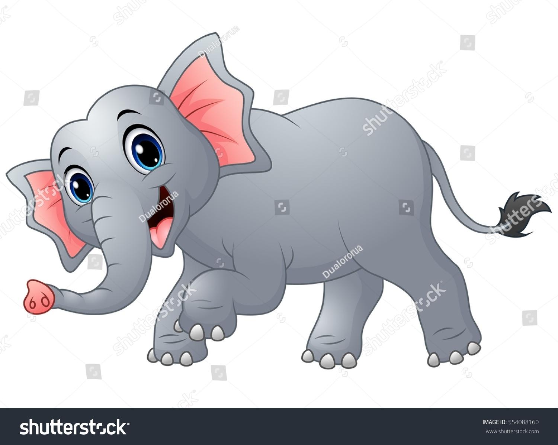 vector illustration cute cartoon elephant walking stock vector