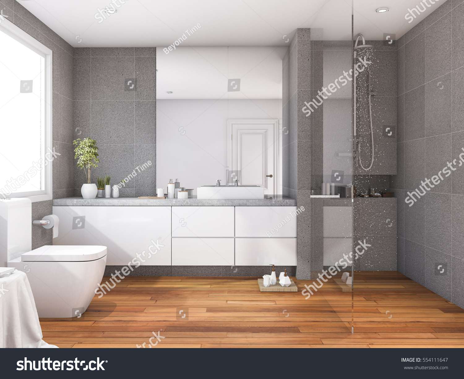 3 D Rendering Tropical Modern Style Wood Stock Illustration ...