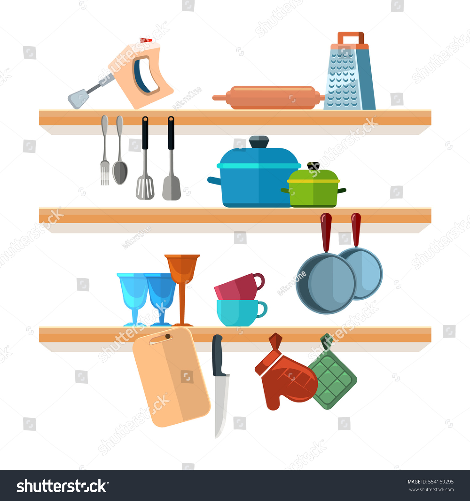 Kitchen Shelves Cooking Tools Hanging Pots Stock Vector