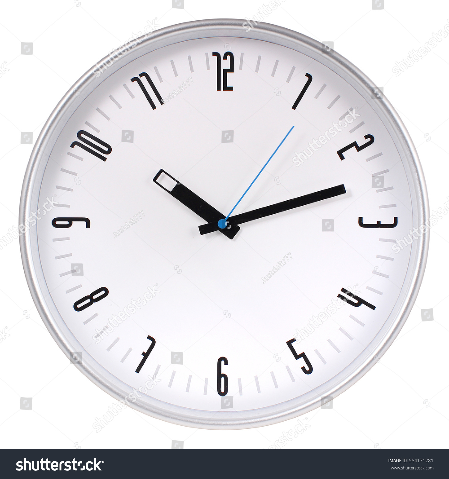 Silver round wall clock stock photo 554171281 shutterstock silver round wall clock biocorpaavc Choice Image